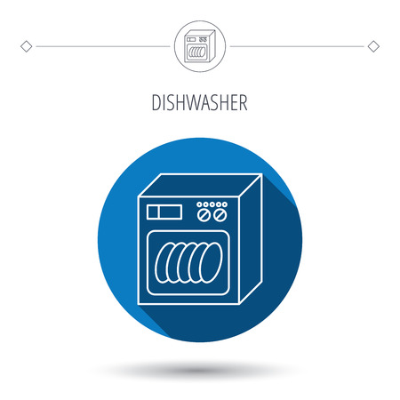 blue circle: Dishwasher icon. Kitchen appliance sign. Blue flat circle button. Linear icon with shadow. Vector