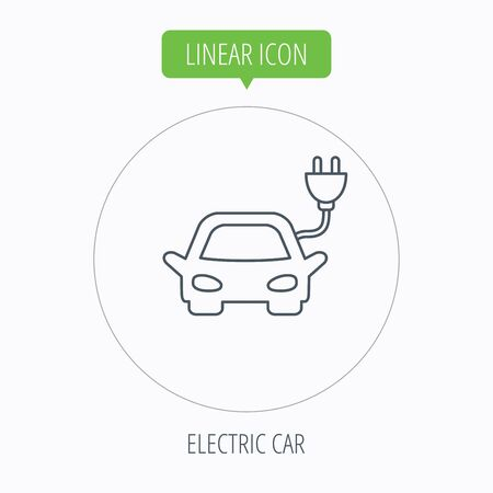 hybrid: Electric car icon. Hybrid auto transport sign. Linear outline circle button. Vector Illustration
