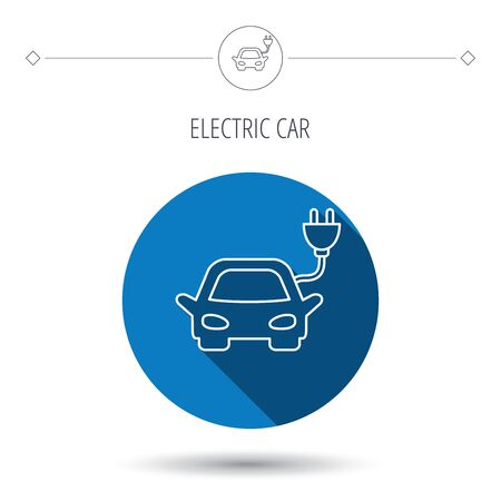 hybrid: Electric car icon. Hybrid auto transport sign. Blue flat circle button. Linear icon with shadow. Vector Illustration