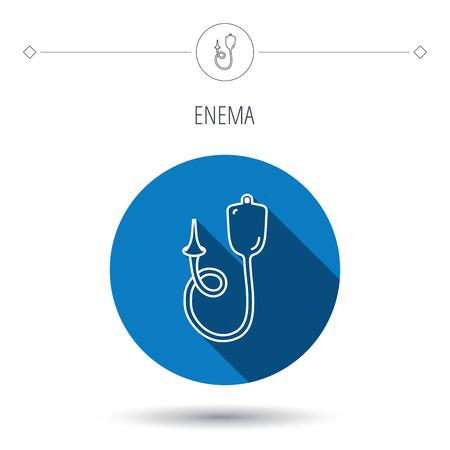 einlauf: Enema Symbol. Medical clyster Zeichen. Blau Flach Kreis-Taste. Linear-Symbol mit Schatten. Vector