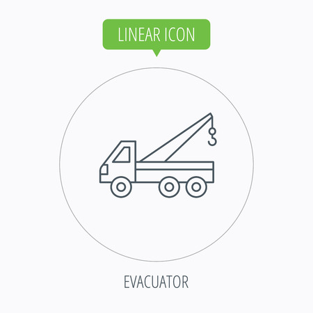 evacuate: Evacuator icon. Evacuate parking transport sign. Linear outline circle button. Vector Illustration