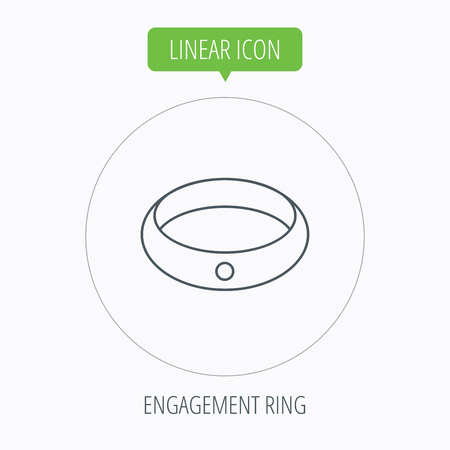 jewelery: Diamond engagement ring icon. Jewelery sign. Linear outline circle button. Vector Illustration