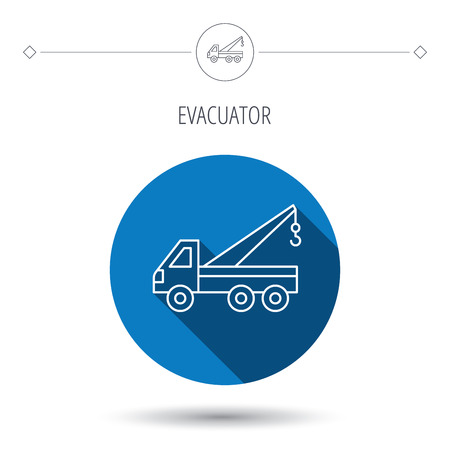 evacuate: Evacuator icon. Evacuate parking transport sign. Blue flat circle button. Linear icon with shadow. Vector Illustration