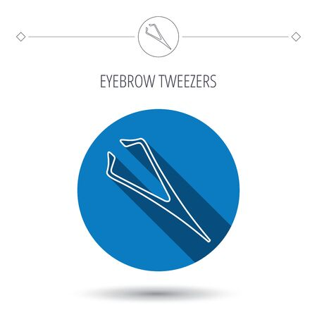 aesthetic: Eyebrow tweezers icon. Cosmetic equipment sign. Aesthetic beauty symbol. Blue flat circle button. Linear icon with shadow. Vector