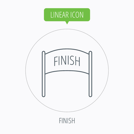 checkpoint: Finish banner icon. Marathon checkpoint sign. Linear outline circle button. Vector