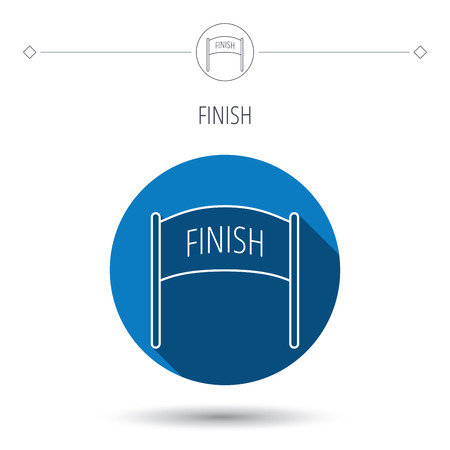 checkpoint: Finish banner icon. Marathon checkpoint sign. Blue flat circle button. Linear icon with shadow. Vector Illustration