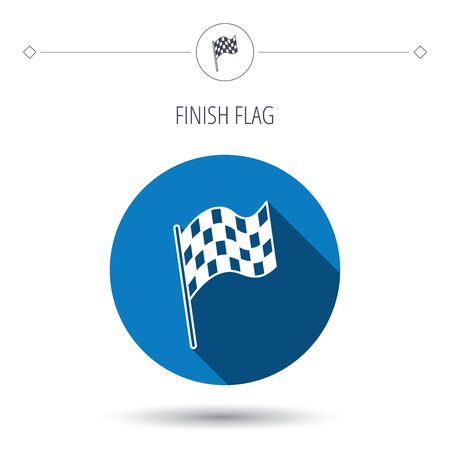 winning location: Finish flag icon. Start race sign. Blue flat circle button. Linear icon with shadow. Vector