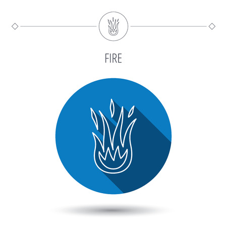 blue flame: Fire icon. Hot flame sign. Blue flat circle button. Linear icon with shadow. Vector Illustration