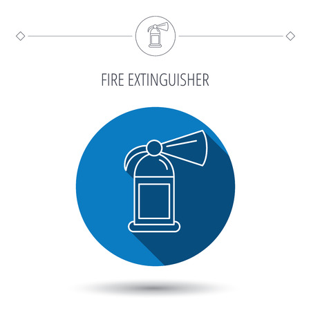 blue flame: Fire extinguisher icon. Flame protection sign. Blue flat circle button. Linear icon with shadow. Vector