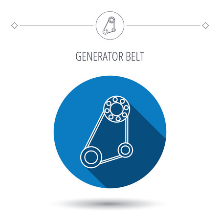 timing belt: Timing belt icon. Generator strap sign. Repair service symbol. Blue flat circle button. Linear icon with shadow. Vector Illustration
