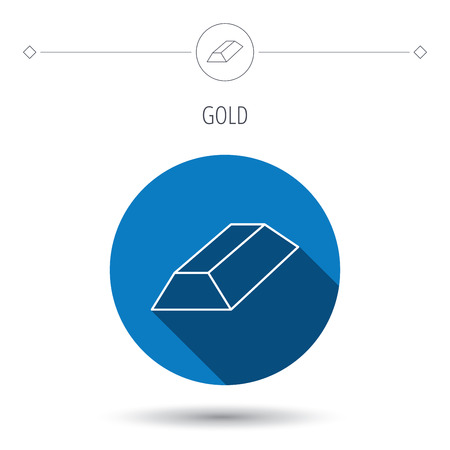 gold bar: Gold bar icon. Banking treasure sign. Blue flat circle button. Linear icon with shadow. Vector Illustration