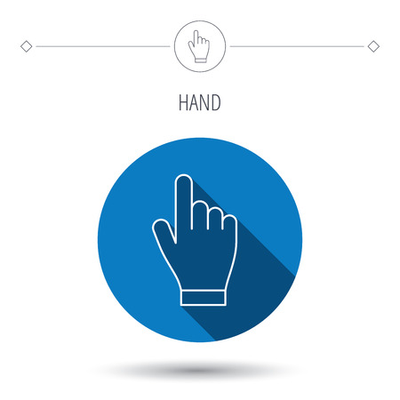 choosing: Click hand icon. Press or push pointer sign. Blue flat circle button. Linear icon with shadow. Vector Illustration