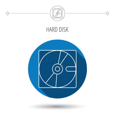 long recovery: Harddisk icon. Hard drive storage sign. Blue flat circle button. Linear icon with shadow. Vector Illustration