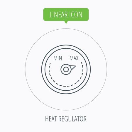 regulator: Heat regulator icon. Radiator thermometer sign. Linear outline circle button. Vector