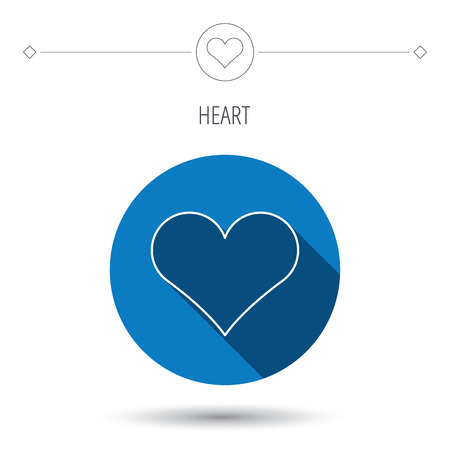 february 1: Heart icon. Love sign. Life symbol. Blue flat circle button. Linear icon with shadow. Vector