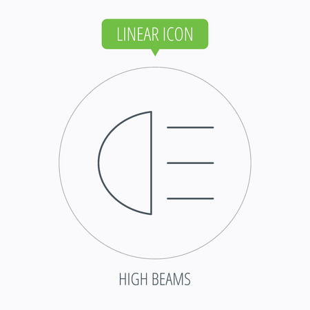 distant: High beams icon. Distant light car sign. Linear outline circle button. Vector Illustration