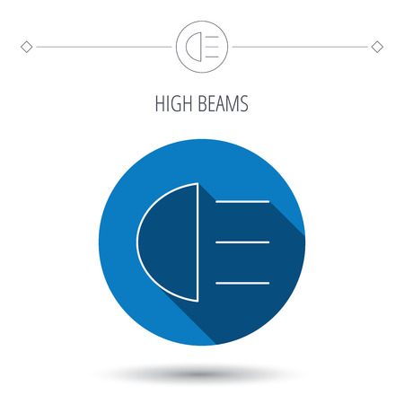high beams: High beams icon. Distant light car sign. Blue flat circle button. Linear icon with shadow. Vector Illustration