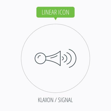 strident: Klaxon signal icon. Car horn sign. Linear outline circle button. Vector