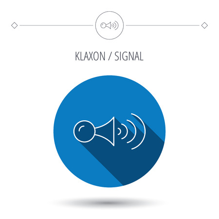 strident: Klaxon signal icon. Car horn sign. Blue flat circle button. Linear icon with shadow. Vector