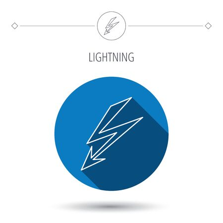 lightening: Lightening bolt icon. Power supply sign. Electricity symbol. Blue flat circle button. Linear icon with shadow. Vector Illustration