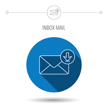 inbox icon: Mail inbox icon. Email message sign. Download arrow symbol. Blue flat circle button. Linear icon with shadow. Vector
