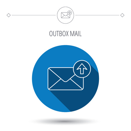 outbox: Mail outbox icon. Email message sign. Upload arrow symbol. Blue flat circle button. Linear icon with shadow. Vector