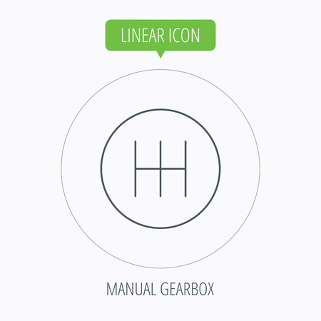gearbox: Manual gearbox icon. Car transmission sign. Linear outline circle button. Vector