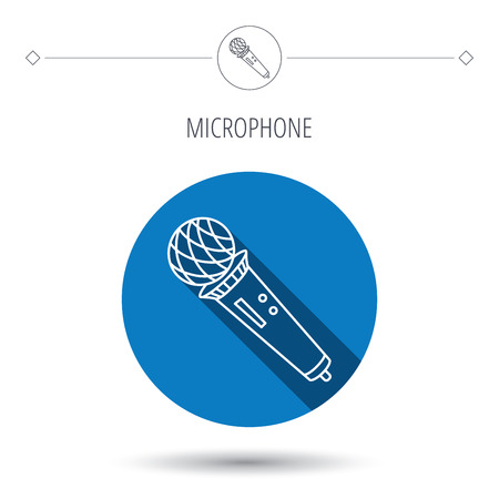 karaoke: Microphone icon. Karaoke or radio sign. Blue flat circle button. Linear icon with shadow. Vector