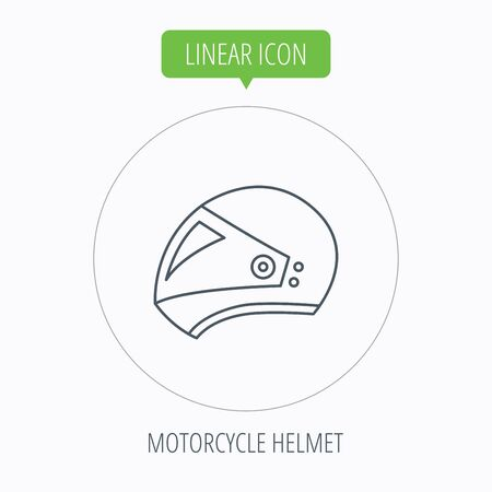 harley: Motorcycle helmet icon. Biking sport sign. Linear outline circle button. Vector