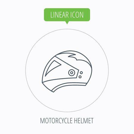 motorradhelm: Motorrad-Helm-Symbol. Biking Sport-Zeichen. Linear Umriss Kreis-Taste. Vector
