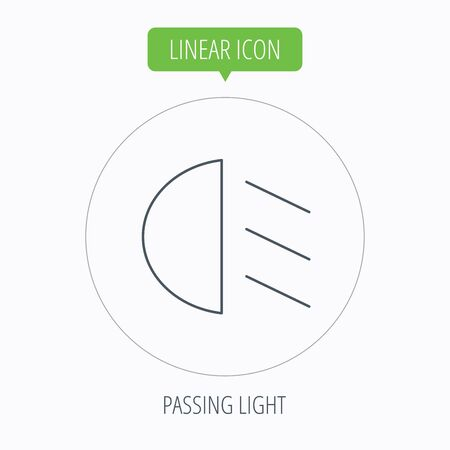 dipped: Passing light icon. Dipped beam sign. Linear outline circle button. Vector