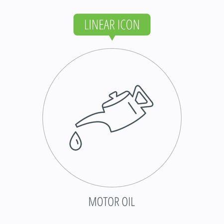 motor oil: Motor oil icon. Fuel can with drop sign. Linear outline circle button. Vector Illustration