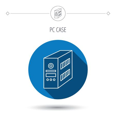 pc case: Computer server icon. PC case or tower sign. Blue flat circle button. Linear icon with shadow. Vector