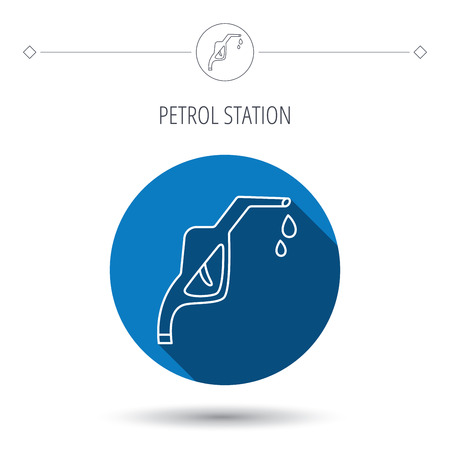 refueling: Gasoline pump nozzle icon. Gas or Petrol station sign. Blue flat circle button. Linear icon with shadow. Vector