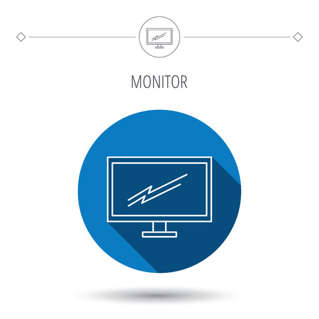tv led: PC monitor icon. Led TV sign. Widescreen display symbol. Blue flat circle button. Linear icon with shadow. Vector Illustration
