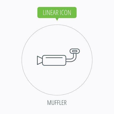 tailpipe: Muffer icon. Car fuel pipe or exhaust sign. Linear outline circle button. Vector