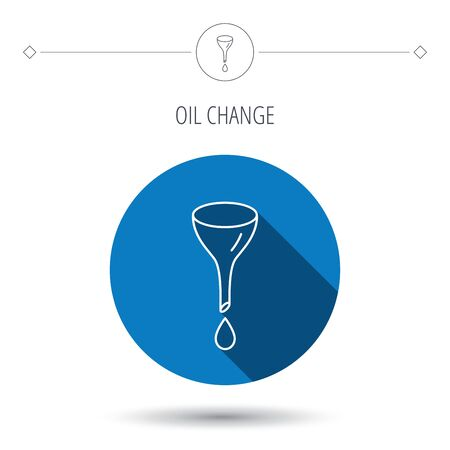 oil change: Oil change service icon. Fuel can with drop sign. Blue flat circle button. Linear icon with shadow. Vector Illustration