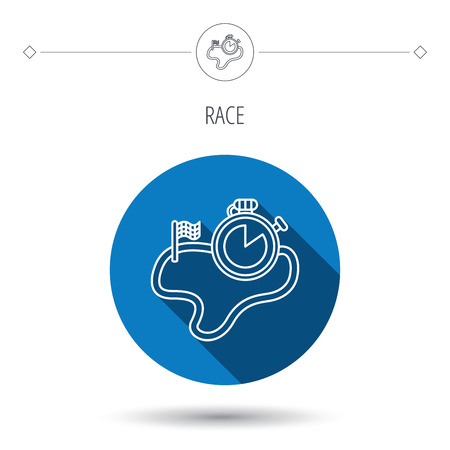 checked flag: Race road icon. Finishing flag with timer sign. Blue flat circle button. Linear icon with shadow. Vector