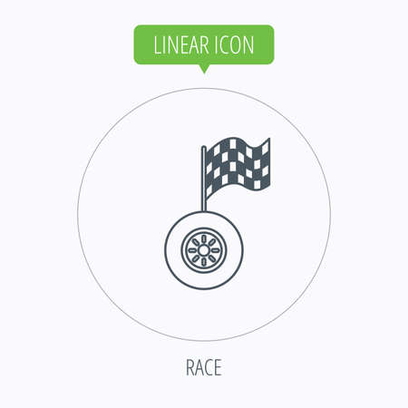 racing sign: Race icon. Wheel with racing flag sign. Linear outline circle button. Vector