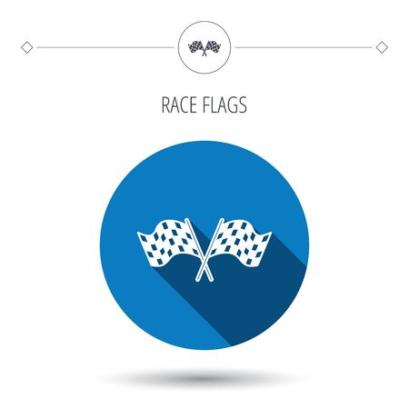 crosswise: Crosswise racing flags icon. Finishing symbol. Blue flat circle button. Linear icon with shadow. Vector Illustration
