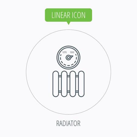 regulator: Radiator with regulator icon. Heater sign. Maximum temperature. Linear outline circle button. Vector Illustration