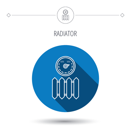 regulator: Radiator with regulator icon. Heater sign. Maximum temperature. Blue flat circle button. Linear icon with shadow. Vector