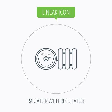 calentador: Radiador con el icono del regulador. Signo del calentador. Bot�n Lineal contorno c�rculo. Vector