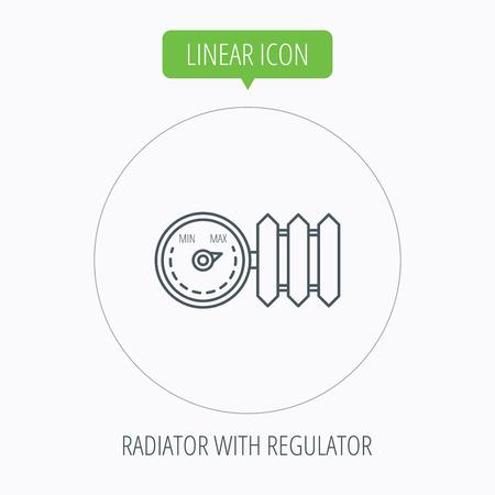 regulator: Radiator with regulator icon. Heater sign. Linear outline circle button. Vector Illustration