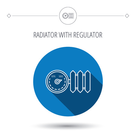 regulator: Radiator with regulator icon. Heater sign. Blue flat circle button. Linear icon with shadow. Vector