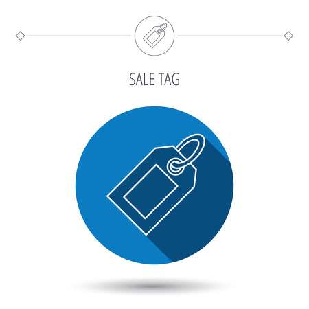 Sale tag icon. Price label sign. Blue flat circle button. Linear icon with shadow. Vector