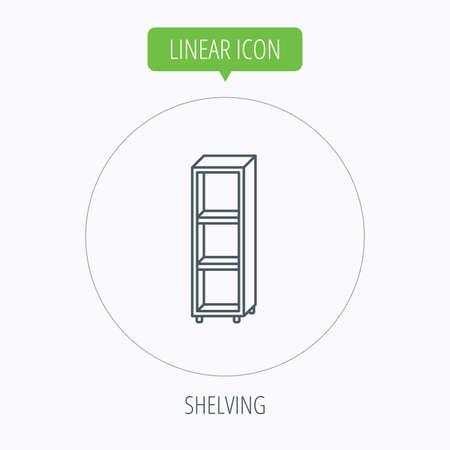 shelving: Empty shelves icon. Shelving sign. Linear outline circle button. Vector