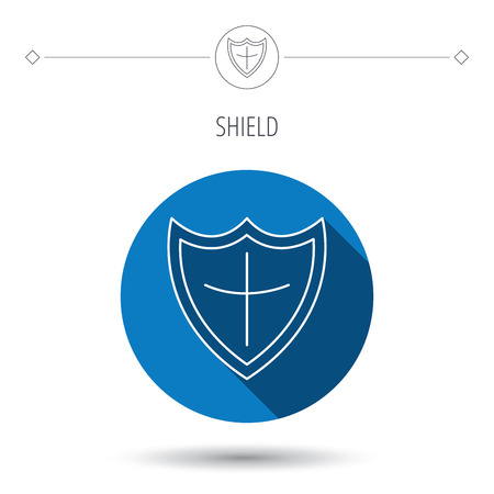 defence: Shield icon. Protection sign. Royal defence symbol. Blue flat circle button. Linear icon with shadow. Vector
