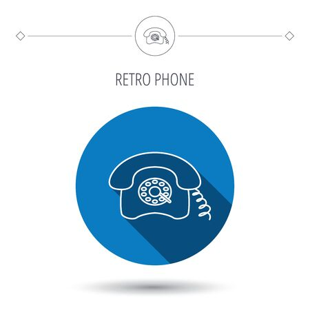 old phone: Retro phone icon. Old telephone sign. Blue flat circle button. Linear icon with shadow. Vector