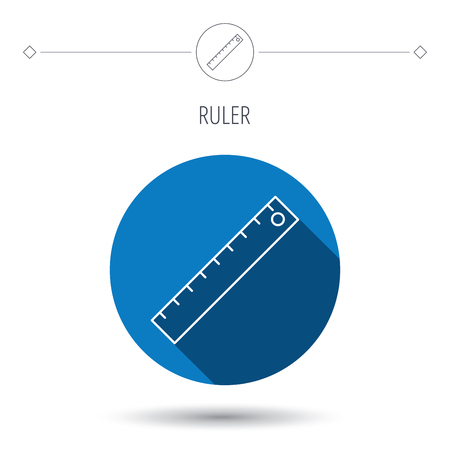 straightedge: Ruler icon. Straightedge sign. Geometric symbol. Blue flat circle button. Linear icon with shadow. Vector Illustration